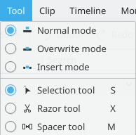 Kdenlive tool menu selection kde.png