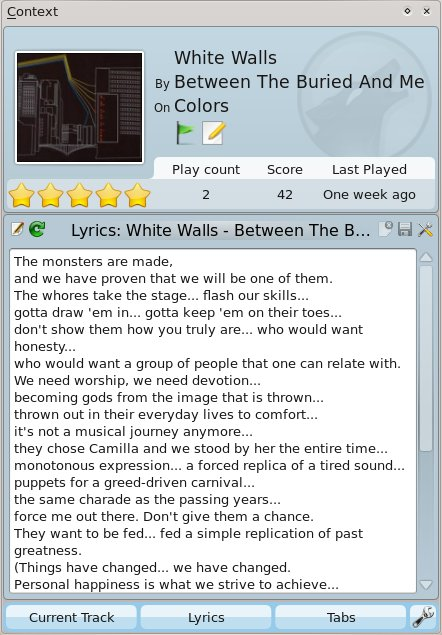Context Pane with Current Track, Lyrics and Tabs applets.