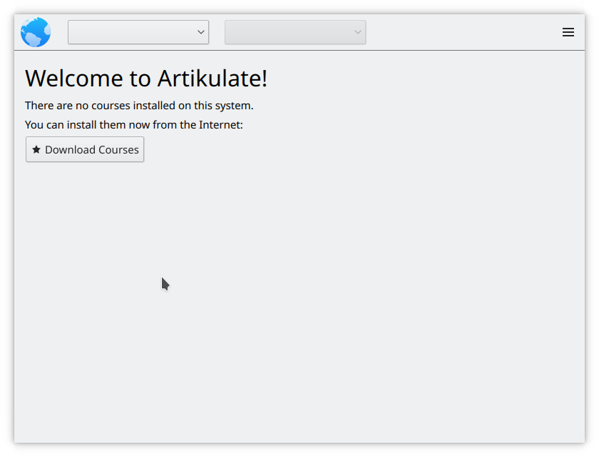 Welcome screen in Artikulate