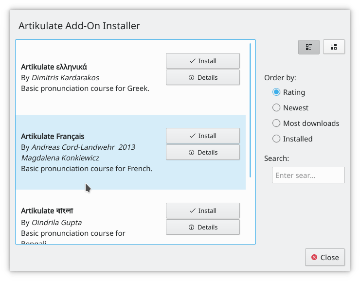 Installing the French pronunciation