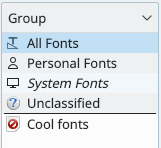 New font group