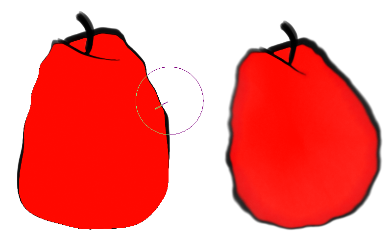 Apple transformed into a pear with liquefy on the left and deform brush on the right.