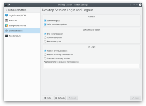 Desktop Session Settings