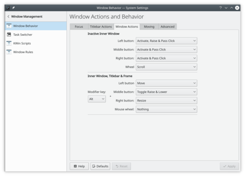 Window Behavior Actions settings