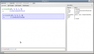 Snapshot of KAlgebra window doing calculations about probabilities