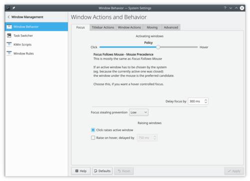 Window Behavior Focus settings