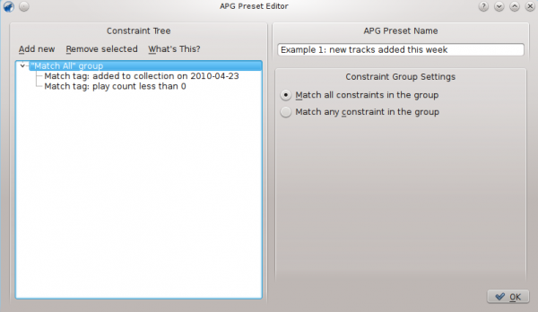 APG Preset Editor window