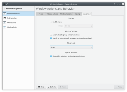 Window Behavior advanced settings