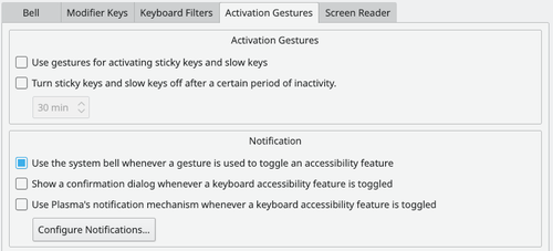 Accessibility settings activation gestures
