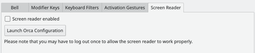 Accessibility settings screen reader